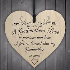 Blessed With Godmothers Love Wooden Hanging Heart Plaque Sign Mothers Day Gift