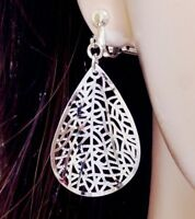 "#E122L CLIP ON Dangle Filigree Leaf Teardrop Earrings 1.7"" White Gold Plated NEW"