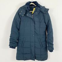 NEW Esmara Blue Puffy Coat Jacket Size US 12 Fur Lined Hood Pockets