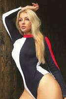 Ladies Long Sleeve Contrast Block Colour Bodysuit Leotard Stripe Top Stretch