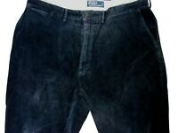 RALPH LAUREN POLO Corduroy Trousers Mens 38 34 Dark Blue TAPERED FIT