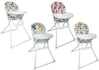 Foldable Baby High Chair With Padded Seat , Feeding Tray And Various Designs