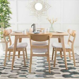 Idalia 5-Piece Light Beige and Natural Oak Dining Set