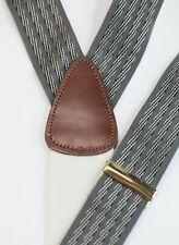 Trafalgar Green Stripe Button Suspenders Braces Brown Leather Brass