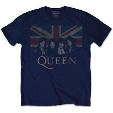 """Queen Official License Mens """"Union Jack"""" T-Shirt Soft Cotton Blue"""