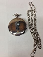 Golf Ball On Tee Pewter Effect Sport Emblem on polished silver case pocket watch