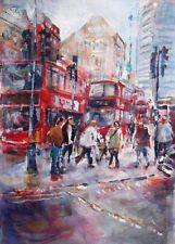 "NEW BEAUTIFUL SERA KNIGHT  ORIGINAL  ""London City - Busy Town"" Acrylic PAINTING"