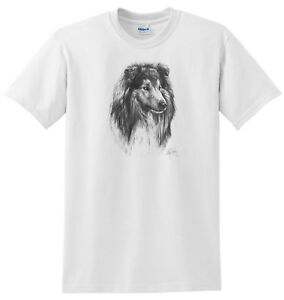 Mike Sibley Rough Collie (1) Dog Breed Cotton T Shirt Assorted Sizes s-3xl Gift
