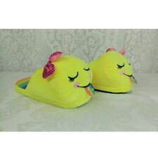 Justice Girls Emoji Slippers Shoes Size 4/5 Yellow Rainbow Plush
