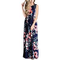 Mujer Bohemio Floral Abierto Vestido Largo Cóctel Verano Playa Vestido De Verano