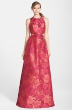 New THEIA Rouge Floral Jacquard Cutout Ball gown - Size 14 NWT $995