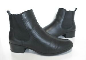 Ladies M&S Footglove Black Leather ankle Chelsea boots Size UK 6.5 Wide Exc Cond