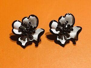 Ben Amun White Black Enamel Crystal Flower Earrings