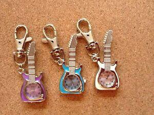 3 x Guitar Shaped Keyrings with quartz clocks - brand new - great gift ideas