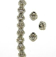 MBL7319 Antiqued Silver 7mm Line & Dot Embellished Bicone Metal Beads 50pc