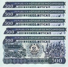 MOZAMBIQUE 500 METICAIS 1986 UNC 5 PCS CONSECUTIVE LOT P-131