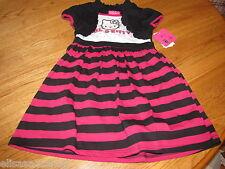 Girls youth Hello Kitty Dress 5 HK57781 B/W Stripe black pink white NWT ^^
