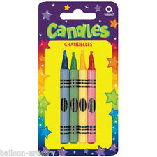 8 Large Celebration Birthday Party Colourful Crayon Cake Candles