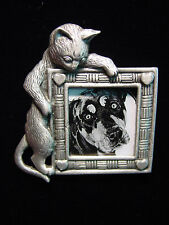 """""""JJ"""" Jonette Jewelry Silver Pewter 'CAT Picture Frame with Hearts' Pin"""