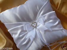 WEDDING RING BEARER PILLOW CUSHION white satin ribbon heart diamante 22x22 cm