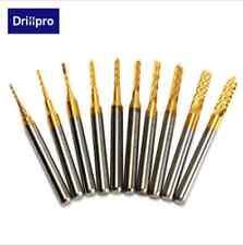 Drillpro 10pcs 0.8-3mm Titanium coated PCB Drill bits Carbide engraving milling