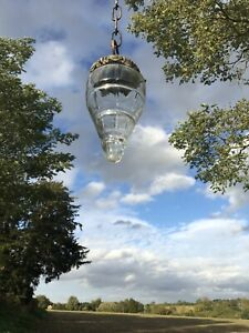 Antique French Art Deco Pendant Light Chandelier Brass And Glass