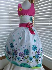 Pink Girl Dress Size 10 Floral 100% Cotton Pique Birthday Pageant Handmade New