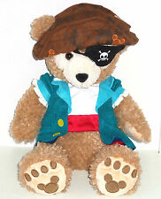 """Disney Duffy Bear Plush Toy 17"""" Pirate Costume Eye Patch Hat Outfit Theme Parks"""