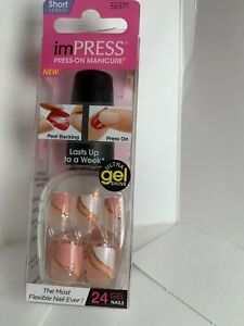 Impress Gel Manicure Press on Nails Short Pink White wave gold stripe