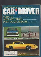 Car and Driver Magazine April 1980 Pontiac Grand Am Stan Barrett Audi 5000