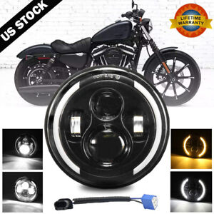 7 Inch LED Headlight Projector Halo Motorcycle For Harley Dyna Cafe Racer Bobber