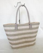 Large Beige Stripe Jute Beach Market Shopping Tote Shoulder Bag