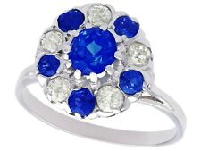 Antique Diamond and Sapphire Engagement Ring in Platinum Size P