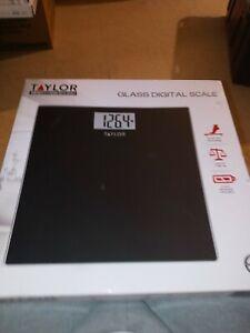 Taylor Bathroom Glass Digital Scale, Black, 400 lbs, 7558B, New