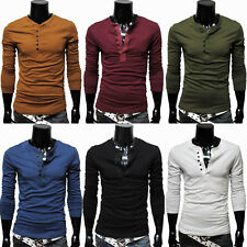 Mens Casual Long Sleeve T-shirt Tee Shirt Top Henley Slim Fit Collarless Buttons