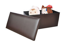 Large Brown Leather Ottoman Storage Box Pouffe Foot Stool Toy Storage Bedroom
