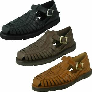 Leather Collection Mens Weaved Sandals
