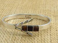 Vtg.  Mexico  Black Onyx & Malachite Silver Arrowhead  Latch Bracelet   31 grams