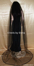 "Wedding Bridal Veil Gothic Chapel 90""  Black Red Halloween Mourning Satin Edge"