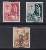 ESPAÑA (1953) SERIE COMPLETA USADA - EDIFIL 1121/23 PRO TUBERCULOSOS - LOTE 2