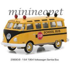GREENLIGHT 29890 B 1964 VW VOLKSWAGEN SAMBA SCHOOL BUS 1/64 DIECAST YELLOW