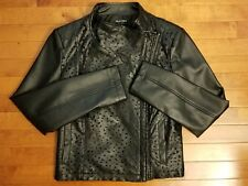 Clothes by Revue Womens Faux Leather Jacket Black Mesh Pattern Size S