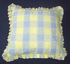 Large Green/Blue Checked Frilled Cushion