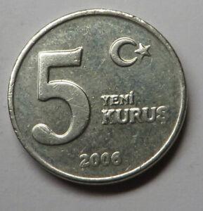 Turkey 5 New Kurus 2006 Copper-Nickel-Zinc KM#1165 UNC