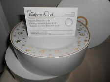 The P&ered Chef Holiday Dessert Plates 2 Sets of 4 (8) Gold Stars Swirls & Pampered Chef Plate | eBay
