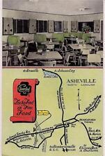 Cloverleaf Restaurant ASHEVILLE NORTH CAROLINA NC Map Vtg UNUSED Ad Postcard