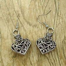Vintage Tibet Silver Tone Earrings Heart Love Flower Dangle Women Charms Jewelry