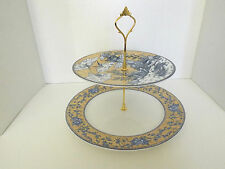 Two tier Server Cake Display Stand Wedding Party Events, blue and yellow