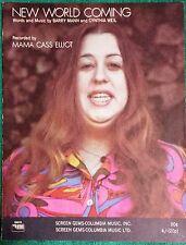 "1970 MAMA CASS ELLIOT of the MAMAS & PAPAS ""NEW WORLD COMING"" RARE SHEET MUSIC"