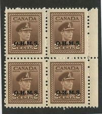 Canada 1949 KGVI 2c OHMS ovpt Side Blk of 4 #O2 VF MNH